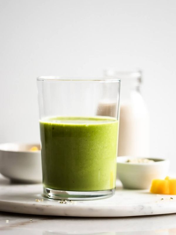 tropical matcha green tea smoothie in short glass