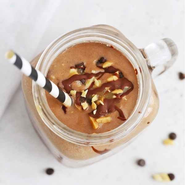 snickers plant based protein shake in mason jar